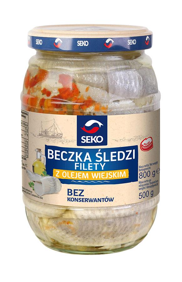 Beczka śledzi filety z olejem wiejskim